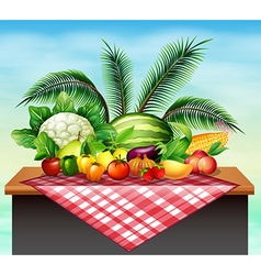 Different types of vegetables and fruit vector image