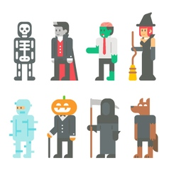 Flat design Halloween people set vector image vector image