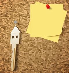 Keys on Cork Board vector image