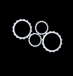 Metal gears on black background vector image vector image