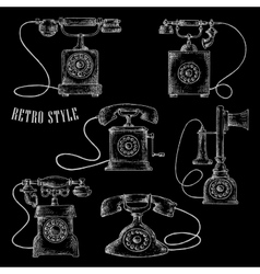 Retro rotary dial telephone icons vector image