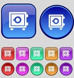 Safe icon sign A set of twelve vintage buttons for vector image