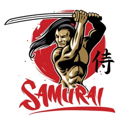 samurai warrior with muscle body vector image vector image