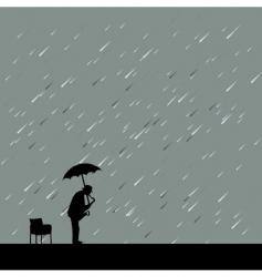 saxophonist in rain vector image vector image