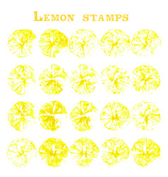 set of lemon fruit stamps lemon marks on paper vector image vector image