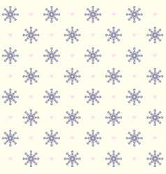 snowflake pattern with hearts seamless background vector image