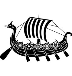 vikings boat stencil vector image vector image