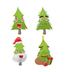 christmas tree cartoon fun character vector image