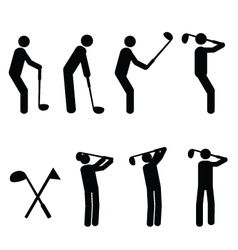 golfer pictograms vector image vector image