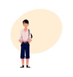 japanese teenage schoolboy in typical uniform vector image