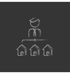 Real estate agent with three houses drawn in vector