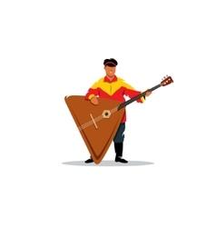 Russian balalaika and a man in traditional folk vector image vector image