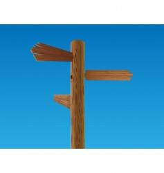 wooden crossroad sign vector image vector image