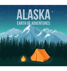 Alaska national park wildlife travel vintage vector