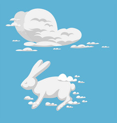 animal clouds silhouette rabbit pattern vector image
