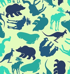 Animals seamless pattern Zoo background Wild vector
