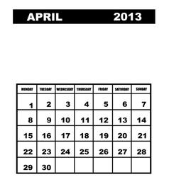 April calendar 2013 vector