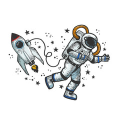 astronaut in spacesuit at open space sketch vector image