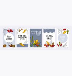 autumn foliage posters hand drawn invitation vector image