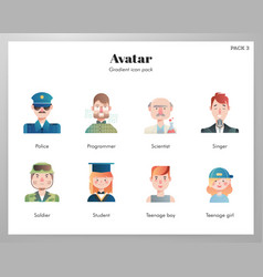 Avatar icons gradient pack vector