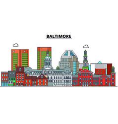 Baltimore united states flat landmarks vector