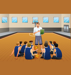 Basketball coach talking with his players on the vector