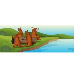Beaver family vector