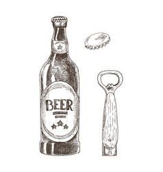 beer and bottle opener with cap isolated on white vector image