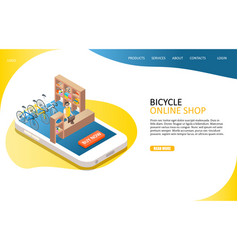 bicycle online shop landing page website vector image