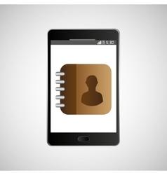 Big smartphone black icon contacts list vector