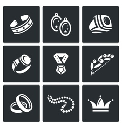 Bijouterie icons set vector