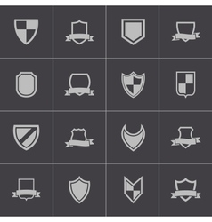 black icon shield icons set vector image