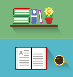 Books on the shelves vector