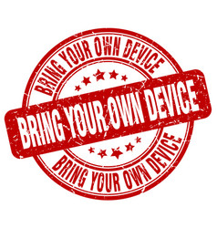 Bring your own device red grunge stamp vector