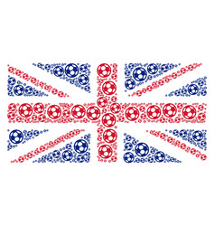 British flag collage of football ball icons vector