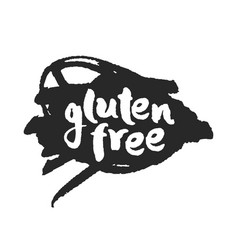 Calligraphy gluten free label on a black scribble vector