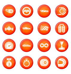 car race icons set red vector image