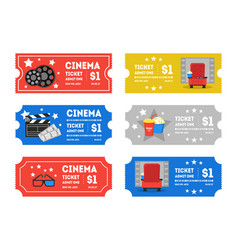 Cartoon cinema tickets small set vector