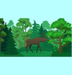 cartoon moose in forest landscape deer silhouette vector image