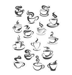 Coffee cup and mug isolated icon set vector