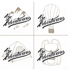 Collection four hand drawn unique typography vector