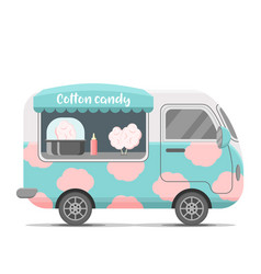 Cotton candy street food caravan trailer vector