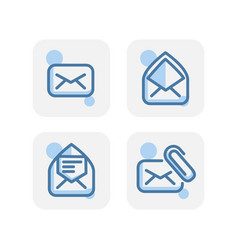 creative blue email icons collection design vector image