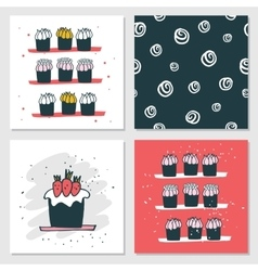 Cute cards Delicious food dessert Cupcake Birthday vector image