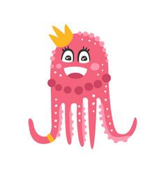 cute cartoon pink octopus princess character vector image