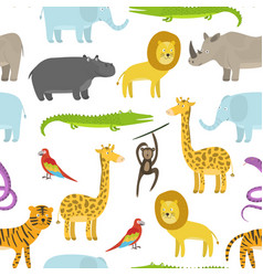 cute childish pattern with cartoon jungle animals vector image