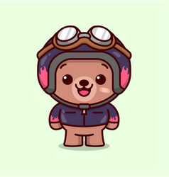 Cute racer bear wearing helmet and jacket in carto vector
