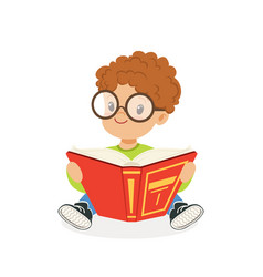 Cute redhead boy wearing glasses reading a book vector