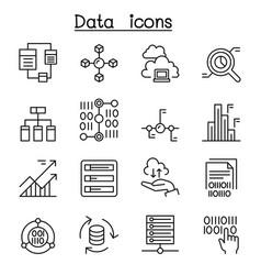 Data database graph chart diagram icon set vector