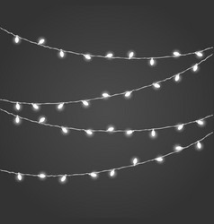 Different white lighting garland set on dark vector